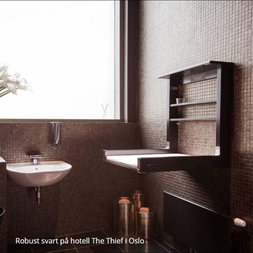 Robust skötbord, svart, hotell The Thief, Oslo, Norge