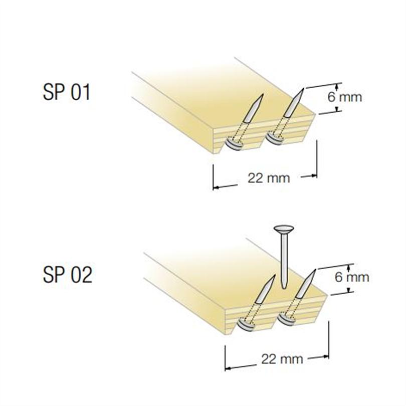 Duri spiklister utan (SP 01) och med (SP 02) spik