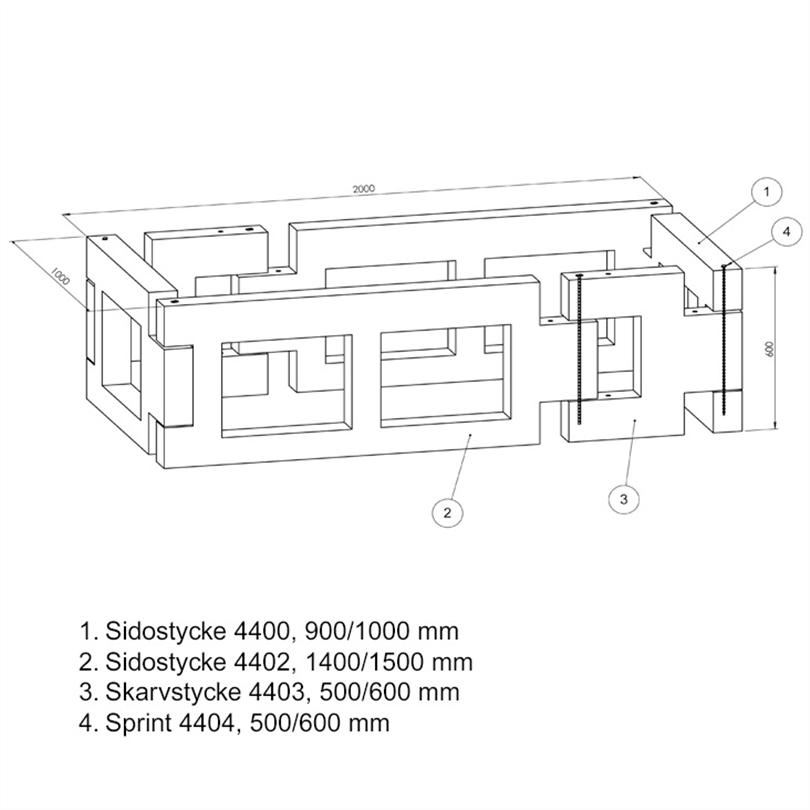 JOM Planteringslådor av betong, grundelement
