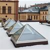 Scanlight Glaspyramider på tak under vinter, Norrköping