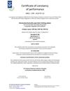 Certificate of constancy of performance