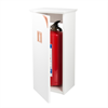 Göthes Brinte 6 vitt skåp för brandsläckare, koppar-detaljer