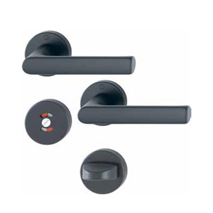 HOPPE Hamburg dörrtrycken med wc-behör, F9714M svart matt