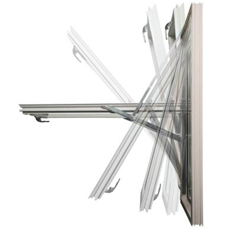 Fönstergångjärn, dubbla stäningsfunktioner, roteringsbar, låsbar, säkerhetsspaken