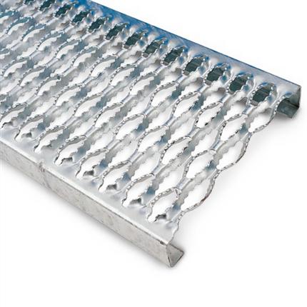 Halkfri slitsdurk av aluminium, bockade långsidor