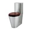 WCK4 Toalett, rostfritt stål, sits av mahogny