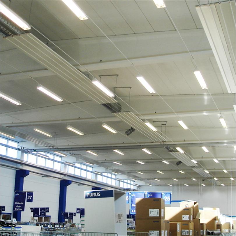 Frico Aquaztrip Flex värmestrålare i lagerlokal