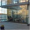 Inglasad terrass, ramlösa glasväggar, sidanglidande väggar