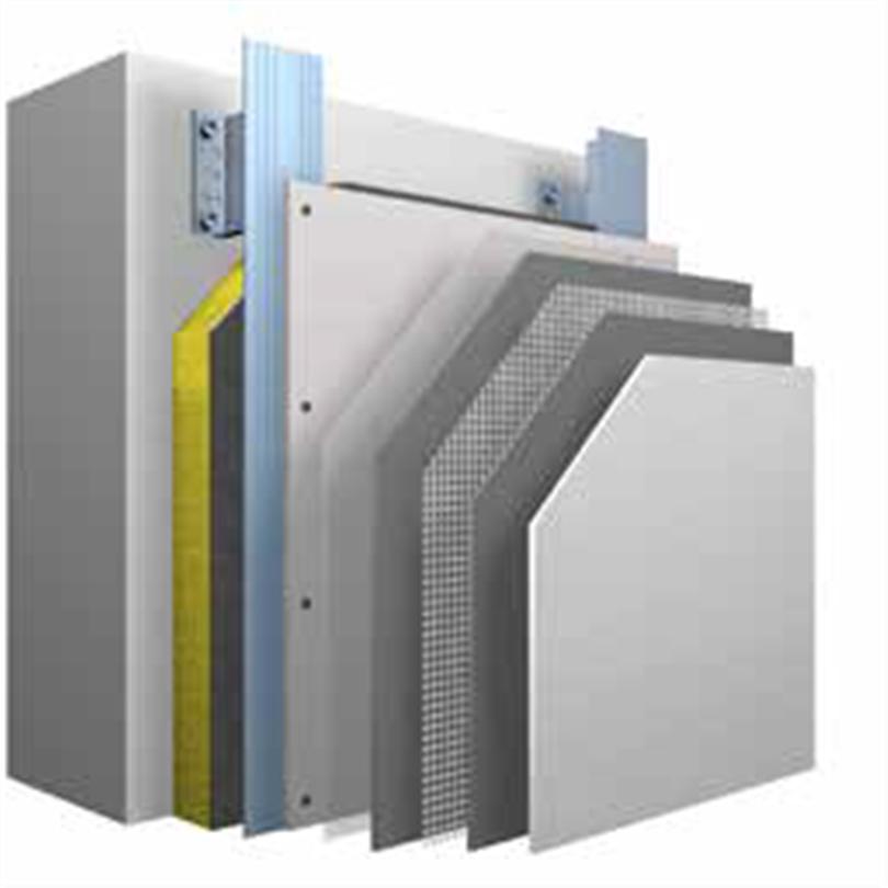 Systemuppbyggnad StoVentec R ventilerat fasadsystem