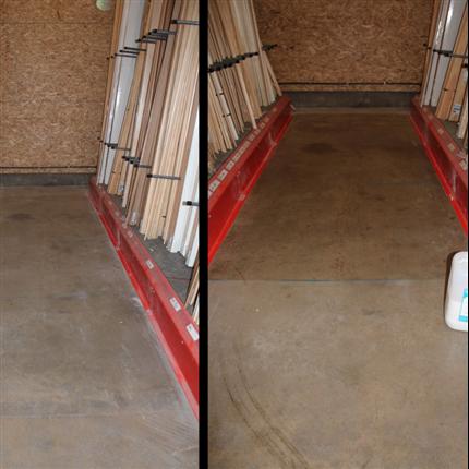 Dammbindaare för betonggolv, före och efter