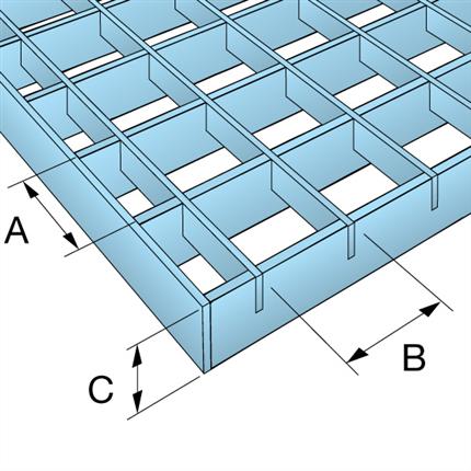 Weland aluminiumgaller måttskiss