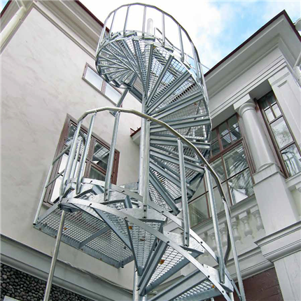 Weland spiraltrappor, utrymning och industri