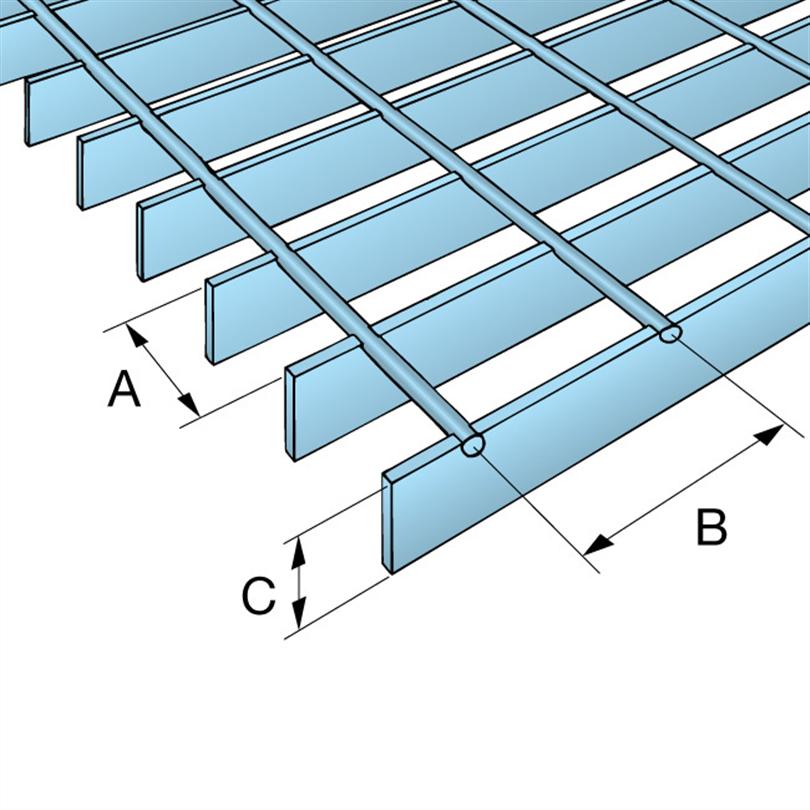 Weland galler av rostfritt stål, detaljskiss