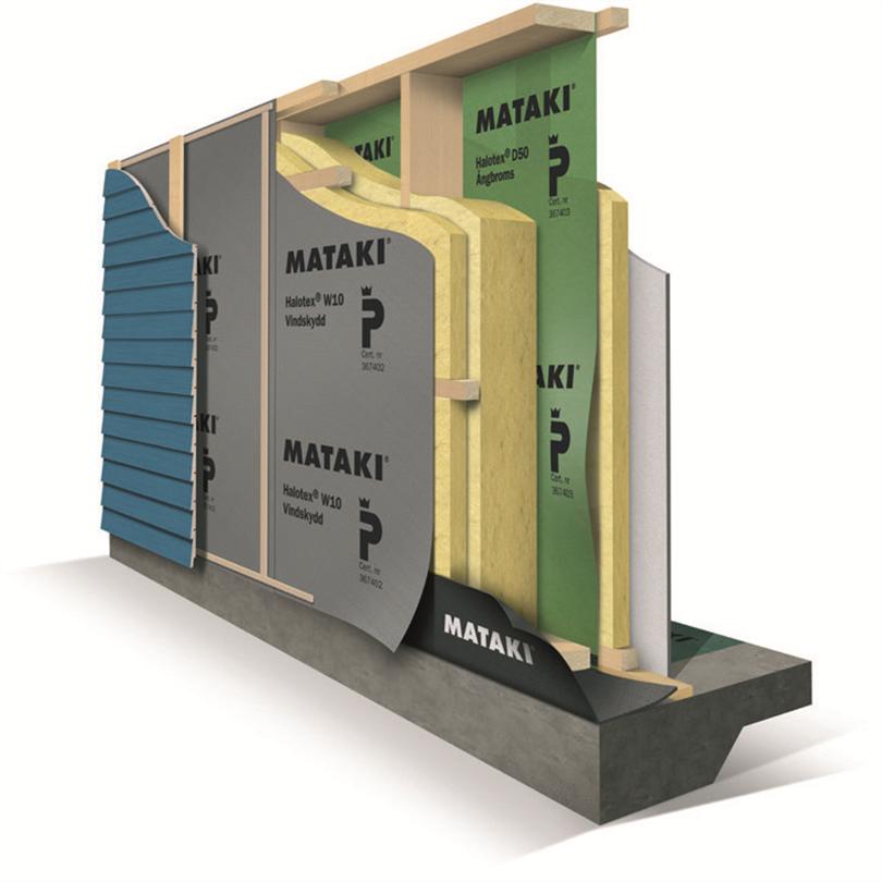 Halotex W10 och D50 i isolerad väggkonstruktion