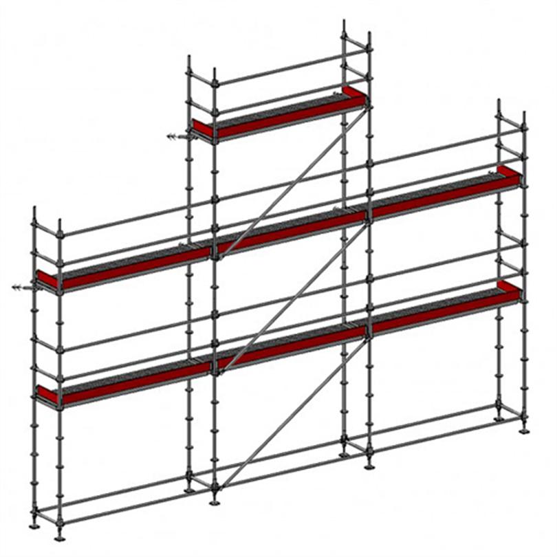 Layher Allround modulställning 61 m2 med gaveltopp och plattformshöjd 6 m
