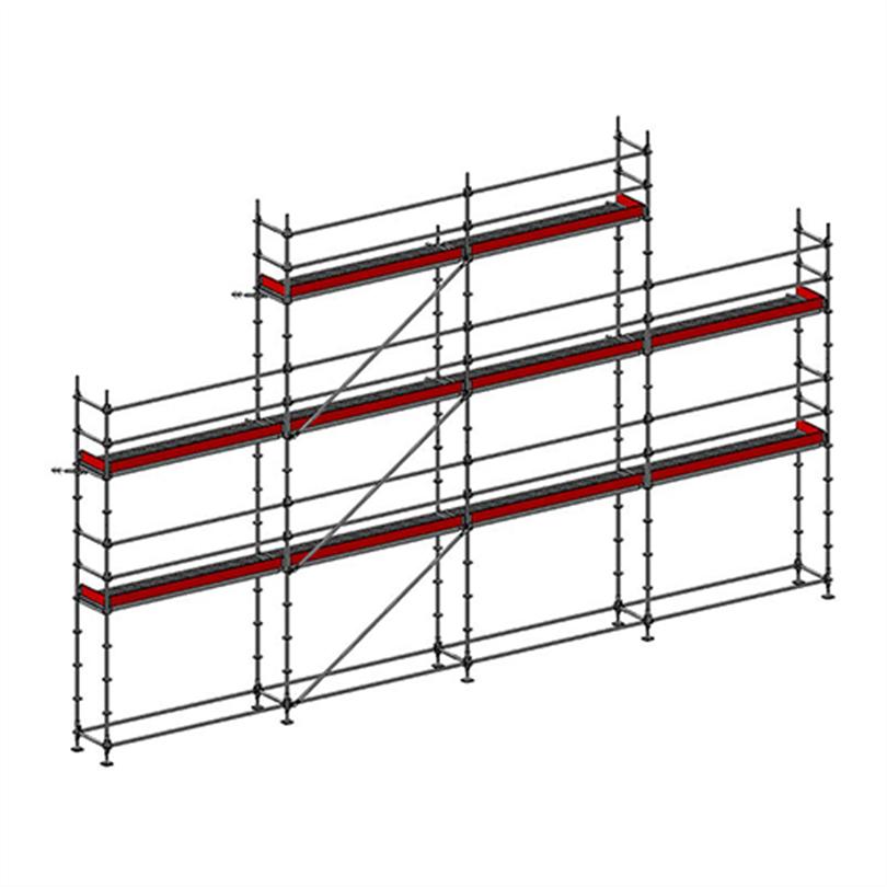 Layher Allround modulställning 86 m2 med gaveltopp och plattformshöjd 6 m