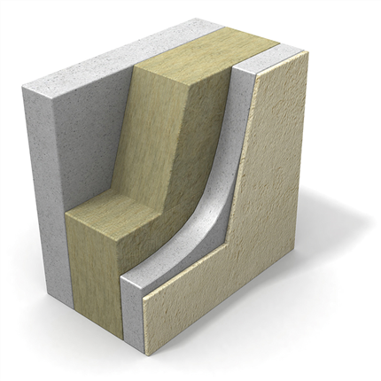 Paroc COS 10 betongelementskiva, 3D