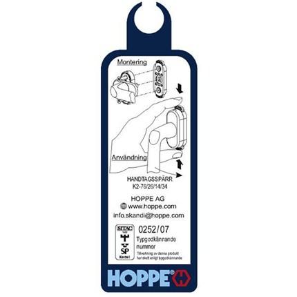 HOPPE Barnspärr hanteringsinstruktion