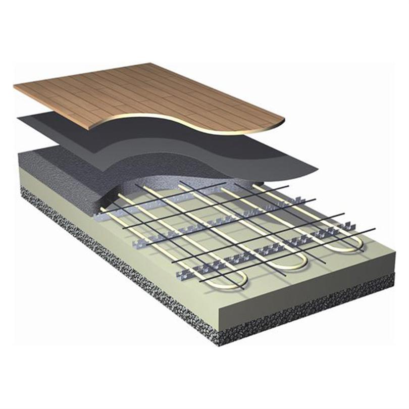 Roth ingjutet golvvärmesystem med golvvärmerör och monteringslister
