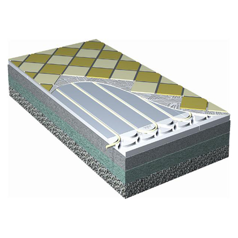 Roth golvvärmesystem i värmefördelningsplåtar under klinker