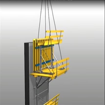 Illustrion av Klätterform för säkert arbete, kranklätterform för konstruktioner med alla former och höjder
