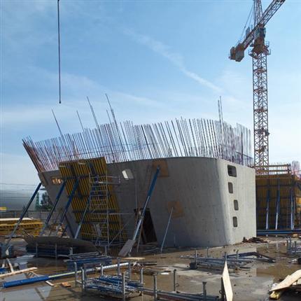 Rund pelarform Science Center Wolfsburg, Tyskland, snabbt och enkelt arbete, arbetsäkerhet