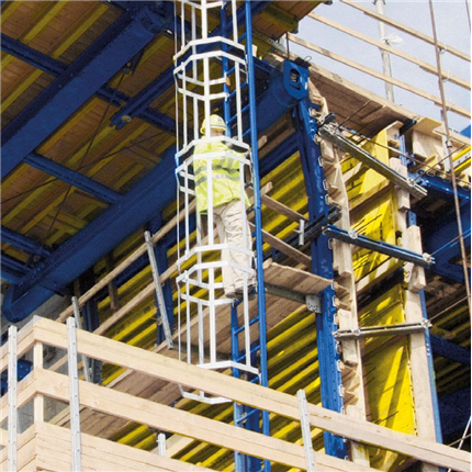Systemstegar med intergrerat ryggskydd, skyddsanordning för hög arbetssäkerhet