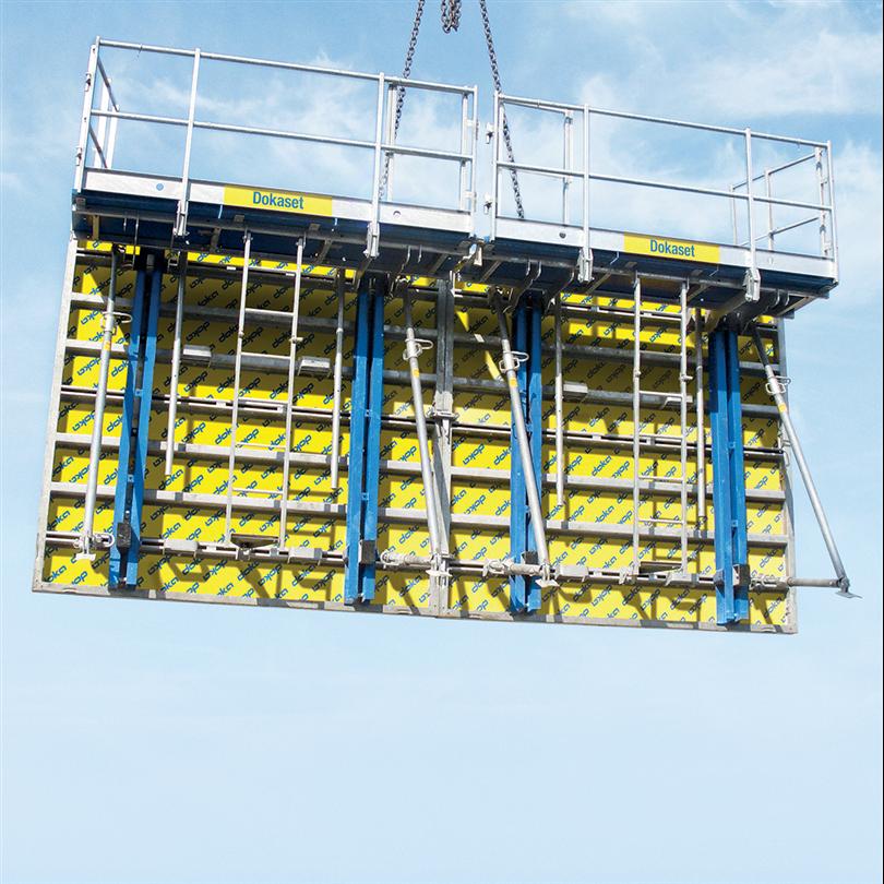 Väggform med förmonterade arbetskonsoler, luckformsystem, formgjutning