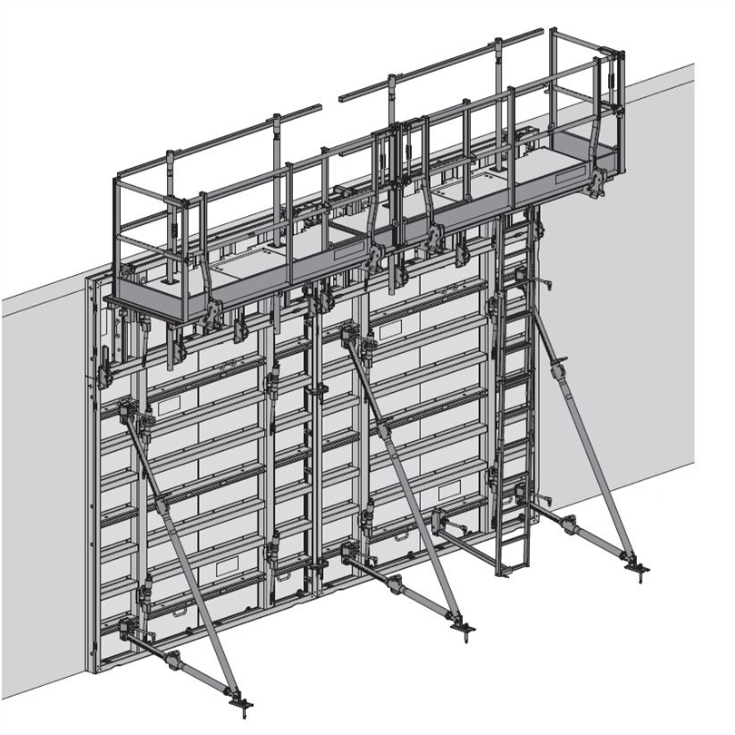 Skiss av Luckformelement, väggformsystem med ett ensidigt manövrerbart stagsystem