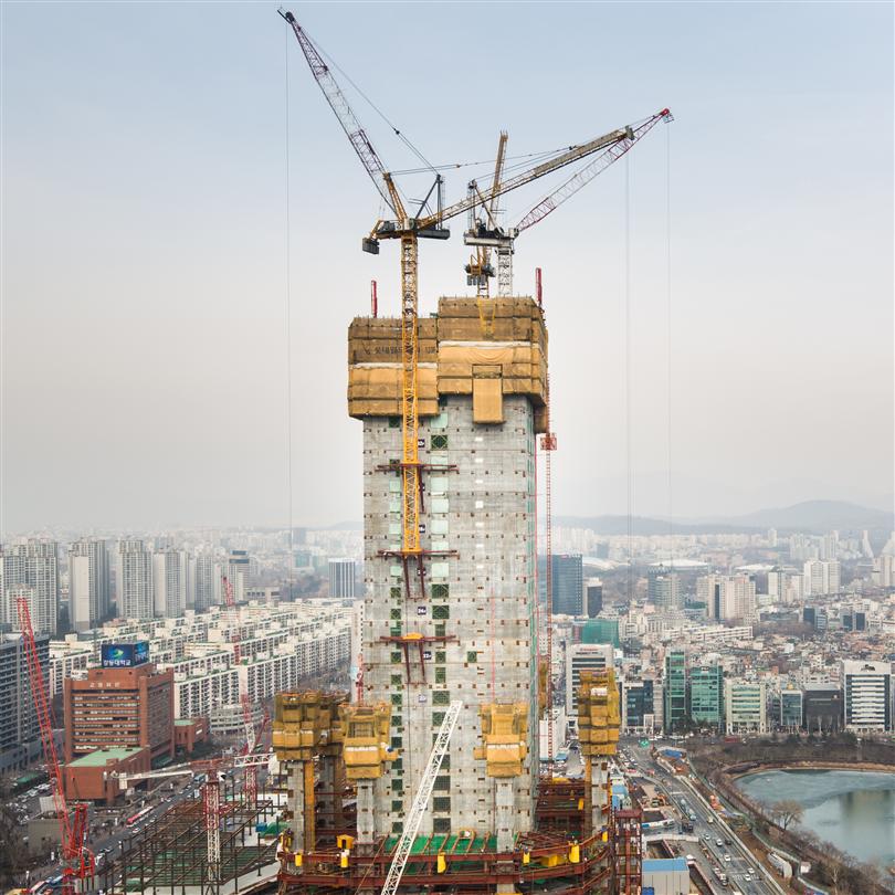 Kranoberoende klätterform, Lotte Super Tower, Sydkorea
