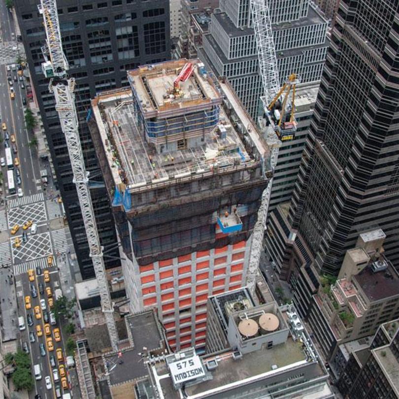 Stämptorn för höga laster vid byggnationer, 432 Park Avenue, NY, USA