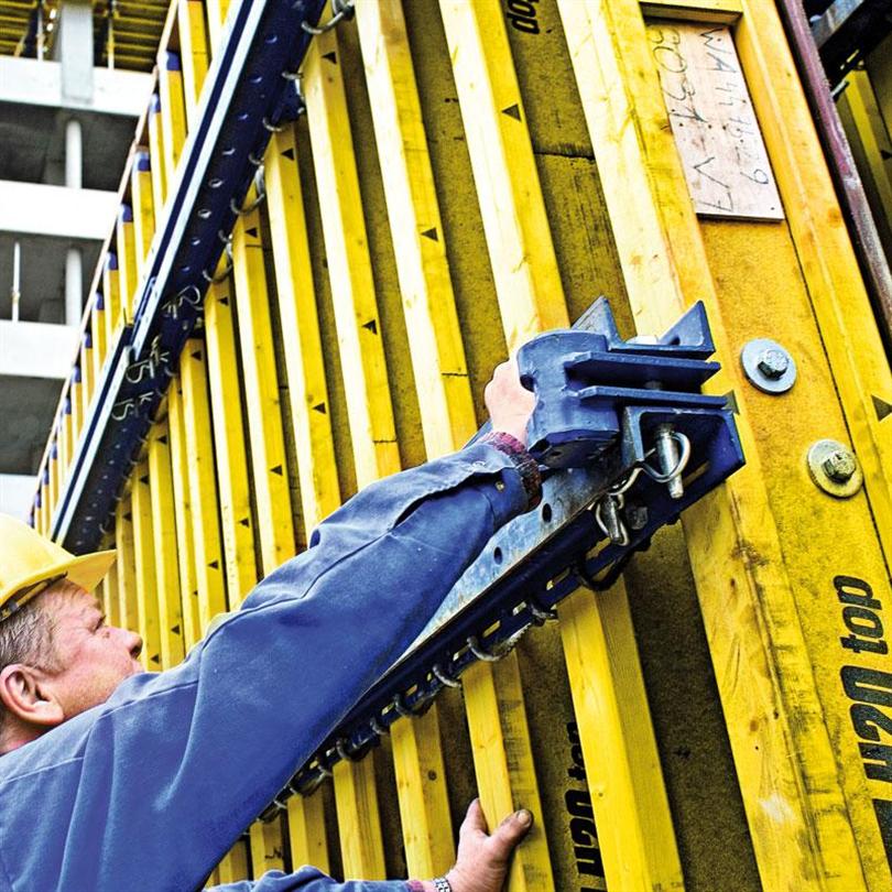 träbalksform för stora ytor, utförandesäkerhet, snabbt och ekonomiskt arbete