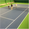 Tennisbeläggning, slitstarkt ytskit, gummimatta, polyerethane som gör det svårt att göra märken i golvet