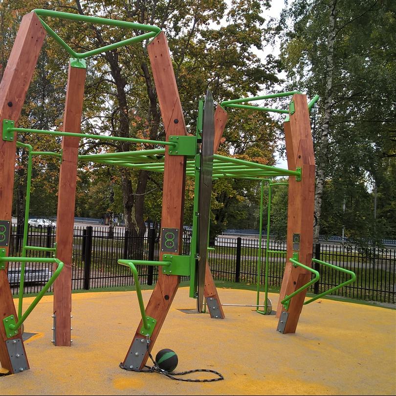 Moduluppbyggtgym, träning utomhus, påbyggnadsbara enheter