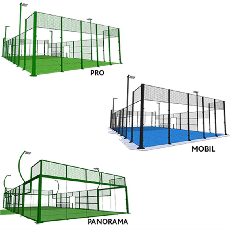 Stabil padelbana, hög kvalitet, tjocka stålprofiler, kan monteras på olika underlag, Pro, mobil, panorama