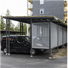 Trafikmiljö Autone carport med sträckmetall och sedumtak
