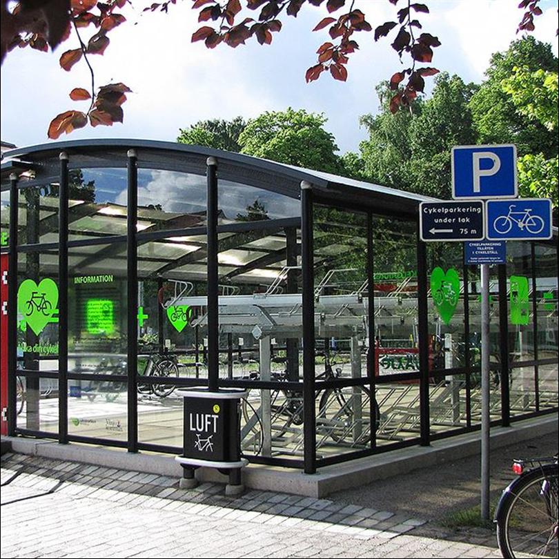 Cykelgarage i glas, moduluppbyggt cykelparkering