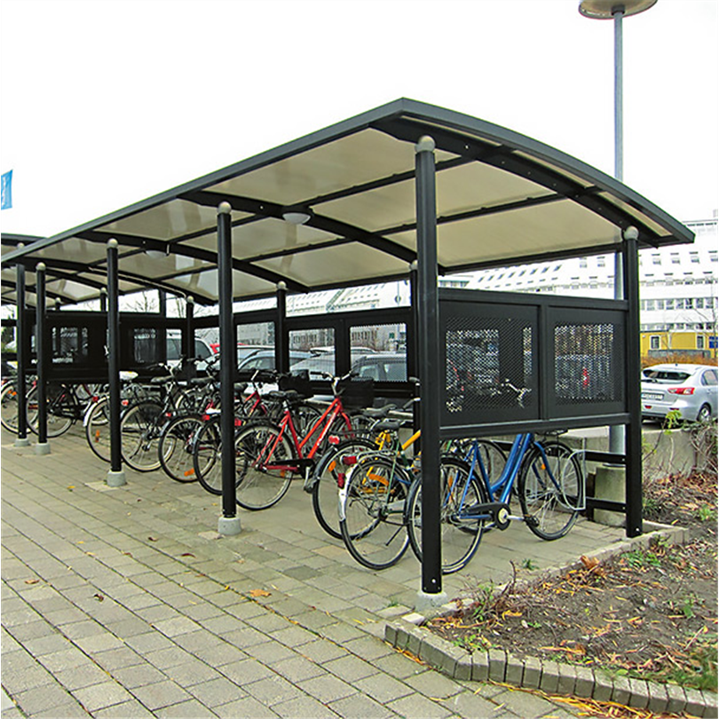 Moduluppbyggda cykelskydd med rundat tak