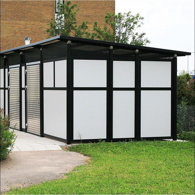 Förrådsbyggnad med pulpettak, modern förrådslösning