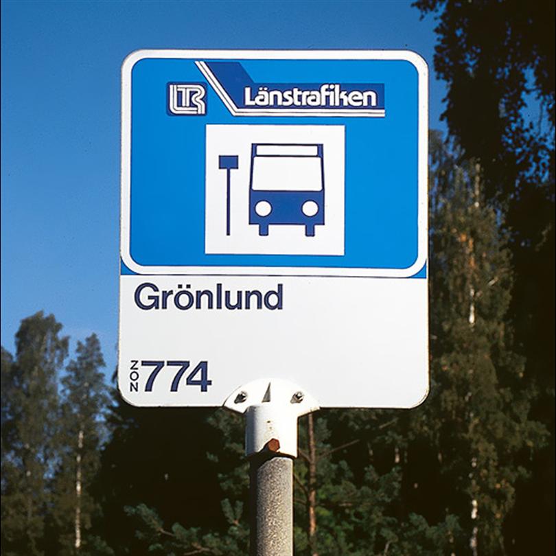 Hållplatsskylt, hållplatstopp med stomme av aluminiumplåt