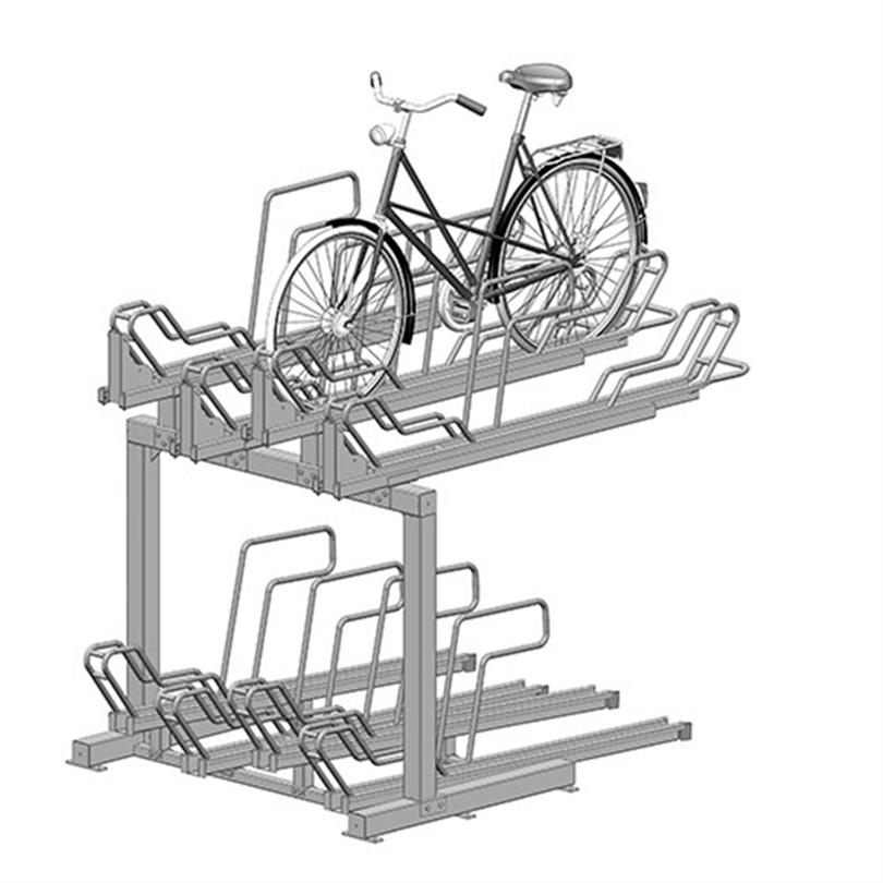 Axelent Cykelställ i två våningar med utdragbara skenor