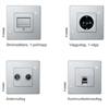 Pansar strömställare, vägguttag, antennuttag och kommunikationsuttag
