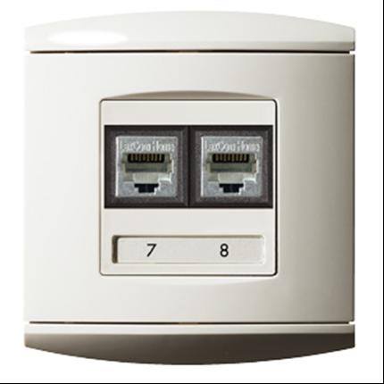 Rumsuttag för anslutning av tele-, TV- och datorutrustning