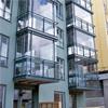 Balkonginglasning med invikbara luckor, monteringsfärdig, fribärande konstruktion