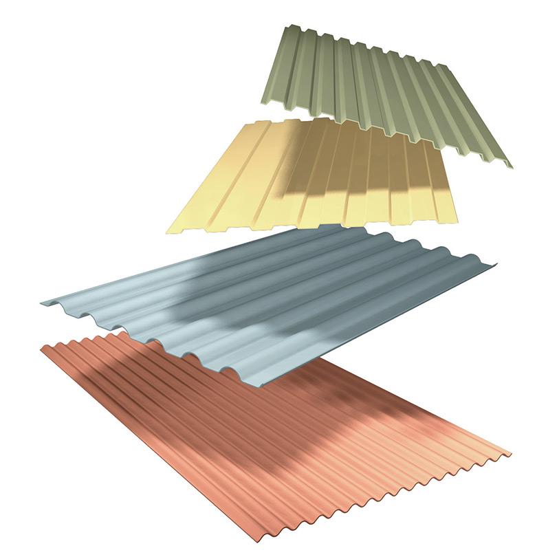 Profilerad aluminiumplåt, stuccerad och brännlackerad fasadbeklädnad