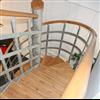 Häfla Bruks kombitrappa av varmförzinkat stål, trästeg och -handledare, inomhus