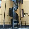 Häfla Bruks spiraltrappa, med plåtbeklätt specialräcke