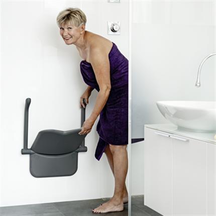 Duschsits, vulkangrå, väggmonterad duschsists, ergonomisk sists, mjuka och släta former, armstöd