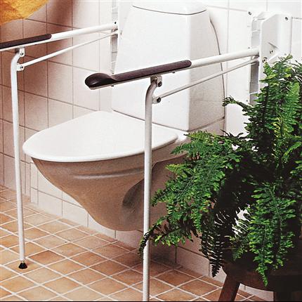 Toalettarmstöd med stödben, uppfällbara stöd, säkert toalettarmstöd, låsbar