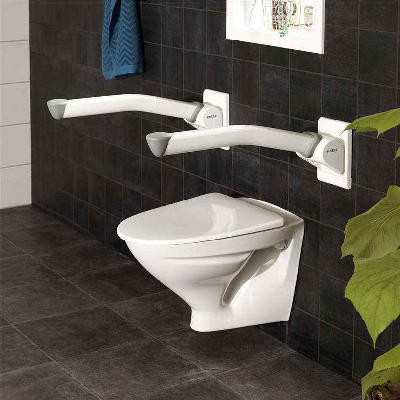 Stadigt toalettarmstöd, trygghet vid toaletten, stablit grepp, nedfällbara, smidig nedfällning, utrustning för funktionsnedsatta